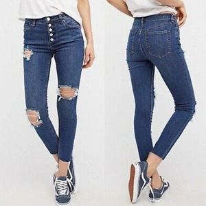 Free People button front skinny jeans